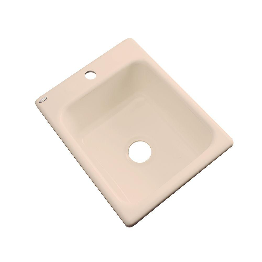 Thermocast Crisfield Drop-In Acrylic 17 in. 1-Hole Single Bowl Entertainment Sink in Peach Bisque