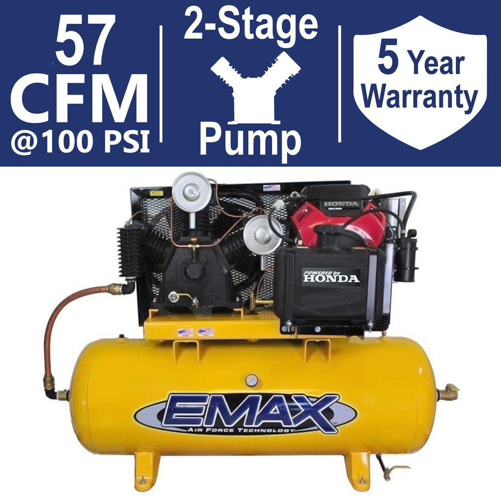 Industrial PLUS Series 120 Gal. 24 HP Gas Horizontal Air Compressor