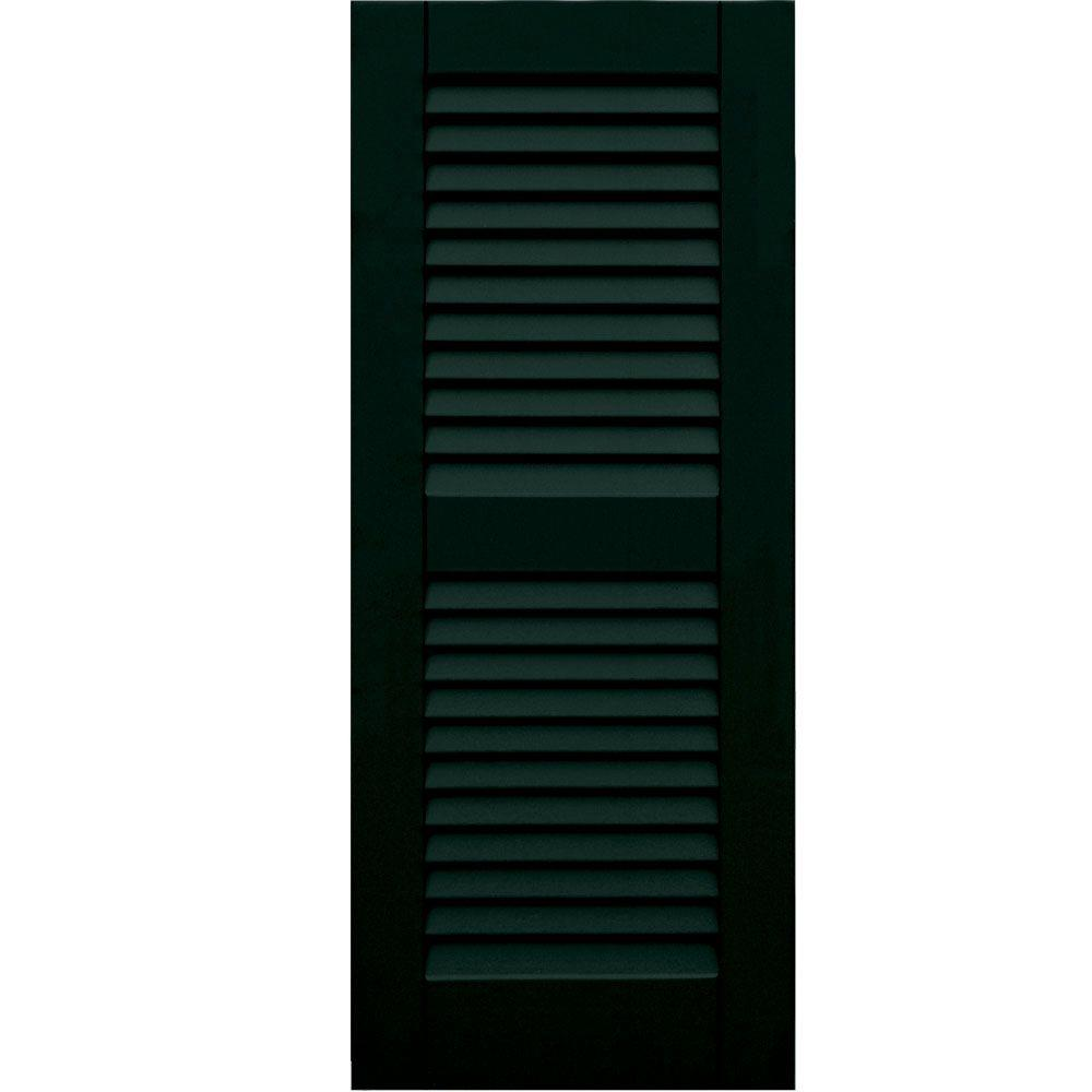 Winworks Wood Composite 15 in. x 37 in. Louvered Shutters Pair #654 Rookwood Shutter Green