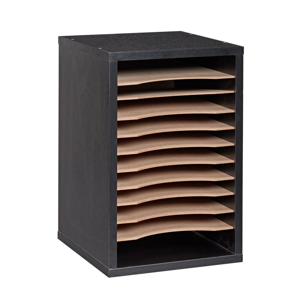 11-Compartment Wood Vertical Paper Sorter Literature File Organizer, Black