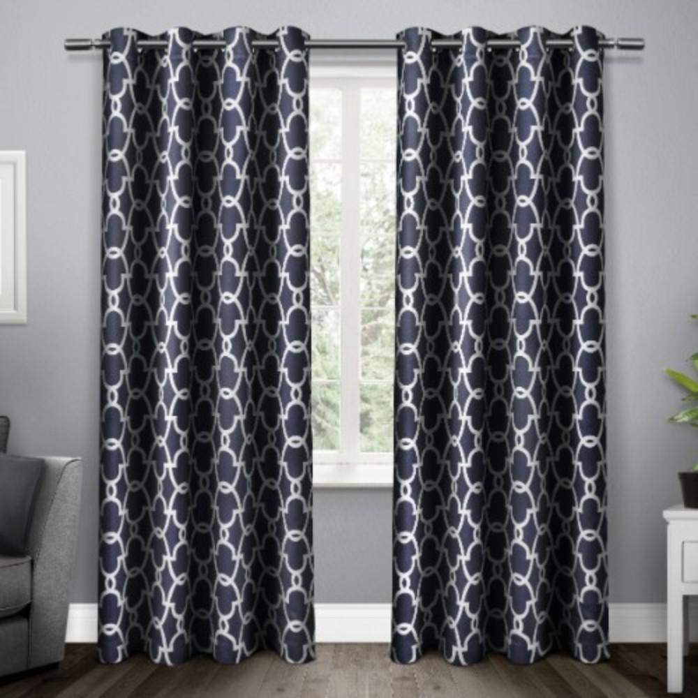 Gates Peacoat Blue Sateen Blackout Thermal Grommet Top Window Curtain