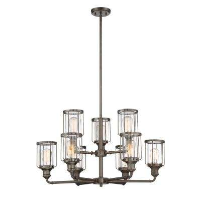 Anson 9-Light Satin Copper Bronze Interior Chandelier with Clear Glass Shade