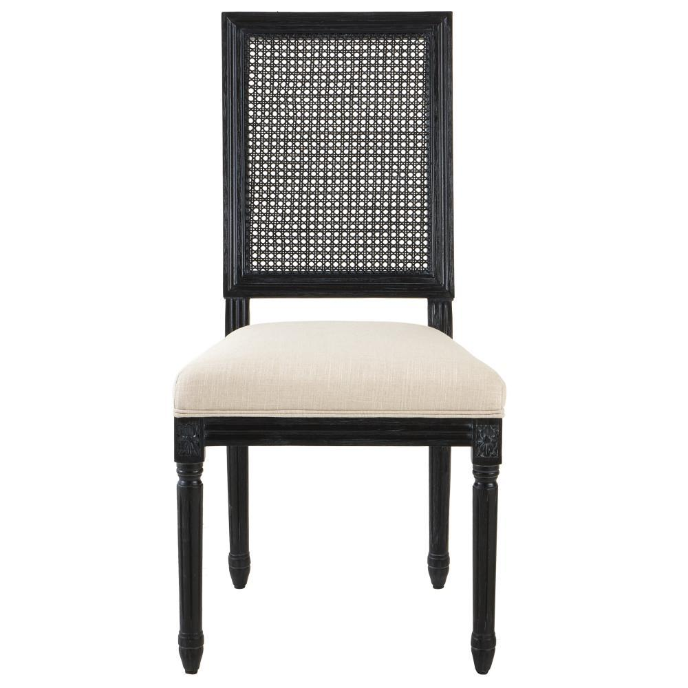 Jacques Cane Antique Black Square Back Dining Side Chairs (Set of