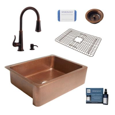 Corbet All-in-One Farmhouse Apron-Front Copper 30 in. Single Bowl Kitchen Sink with Pfister Ashfield Faucet and Strainer
