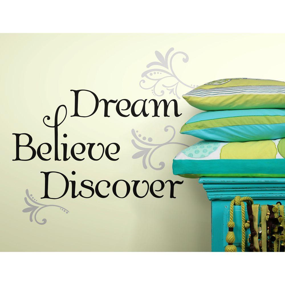 null 10 in. x 18 in. Dream Believe Discover 20-Piece Peel and Stick Wall Decals
