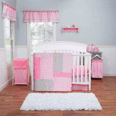 Lily 3-Piece Pink, White, Grey Geometric Polyester Crib Bedding Set