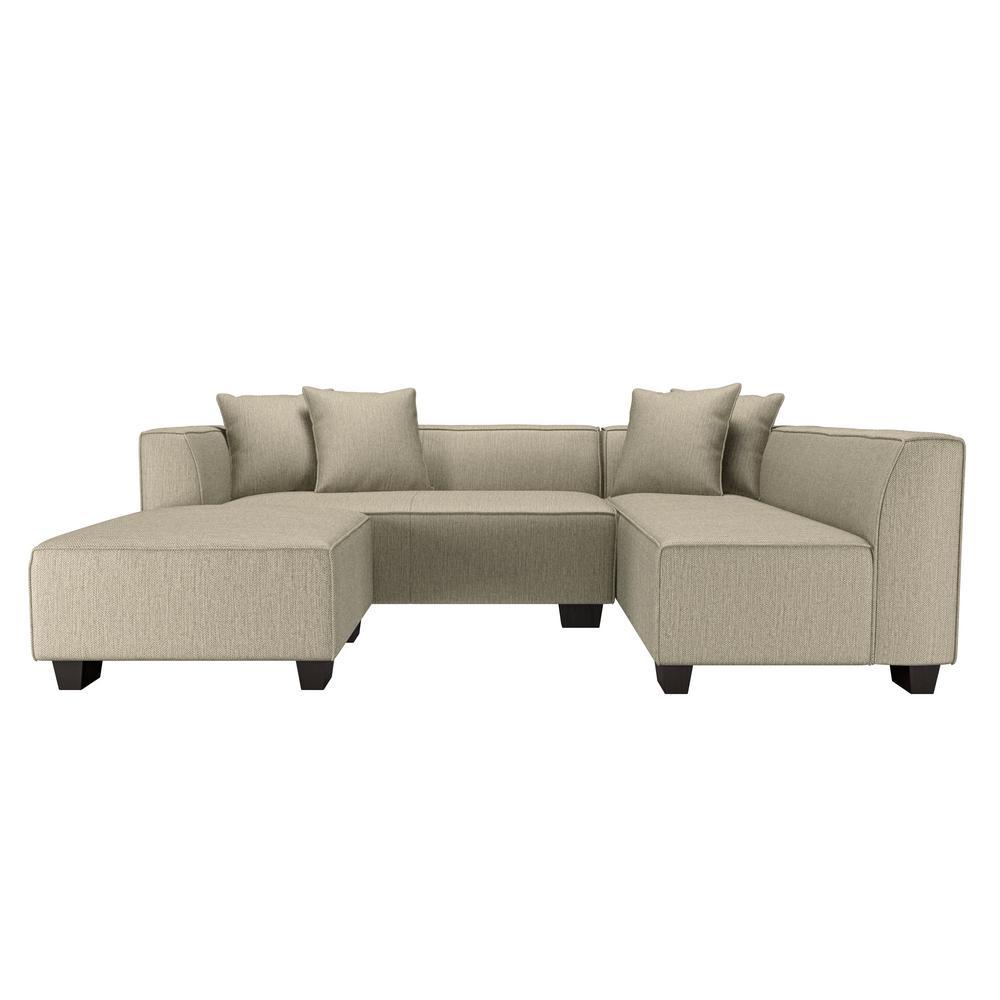Yara Sectional Sofa with Ottoman in Performance Tested Heather Gray Herringbone Fabric