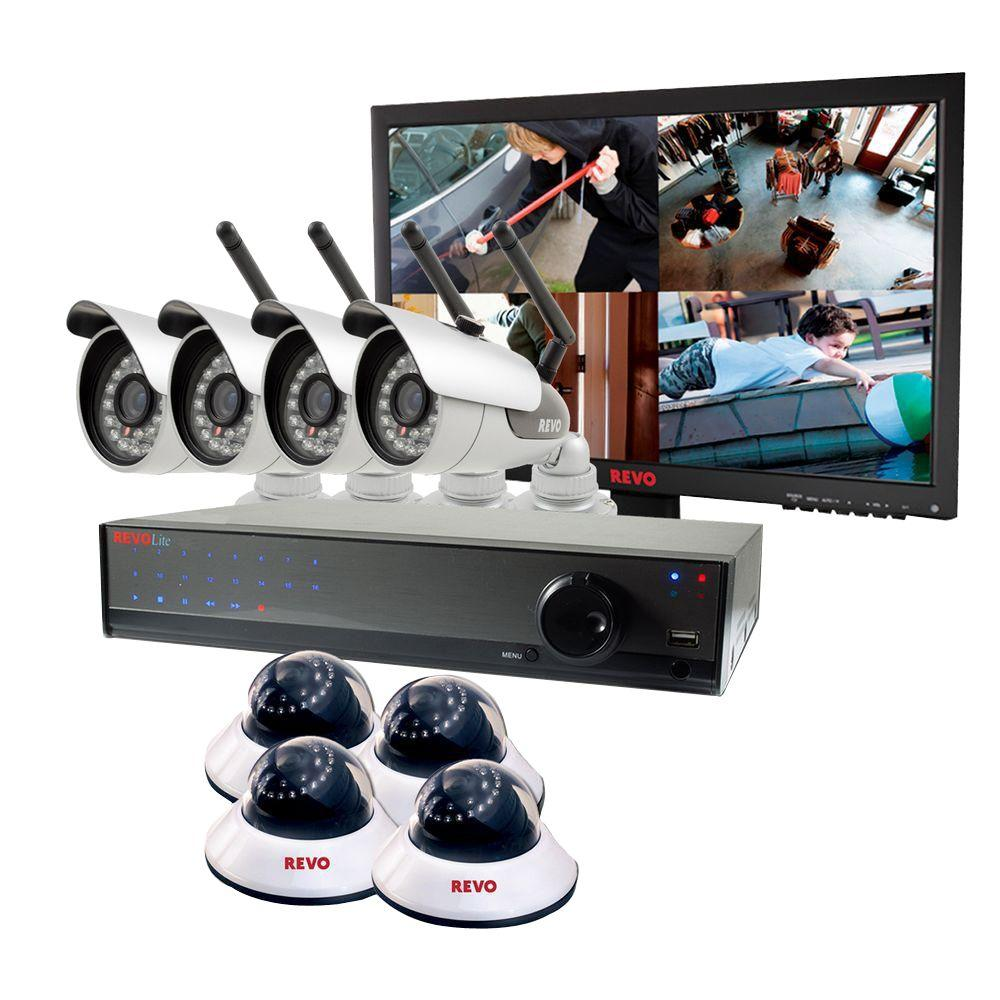 Revo Lite 16-Channel 2TB 960H DVR Surveillance System with (4) 600TVL Wireless Cameras, 4 Wired Cameras and Monitor