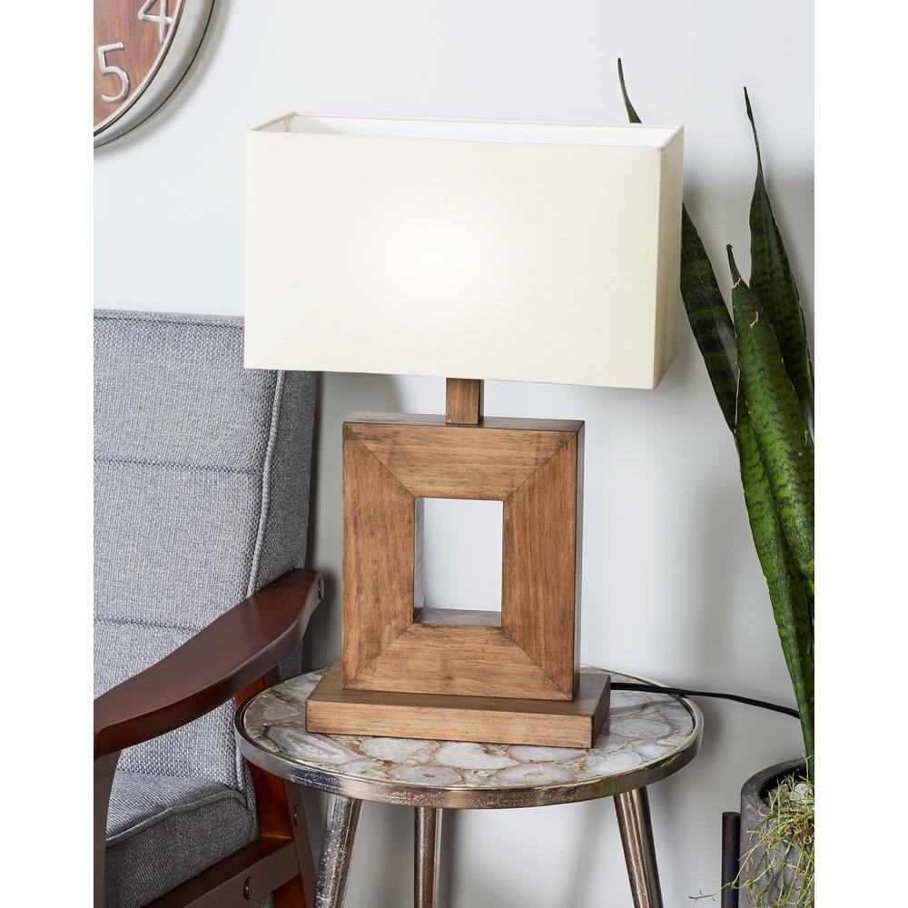 Litton Lane 21 in. Brown Square Frame Table Lamp with White Cotton ...