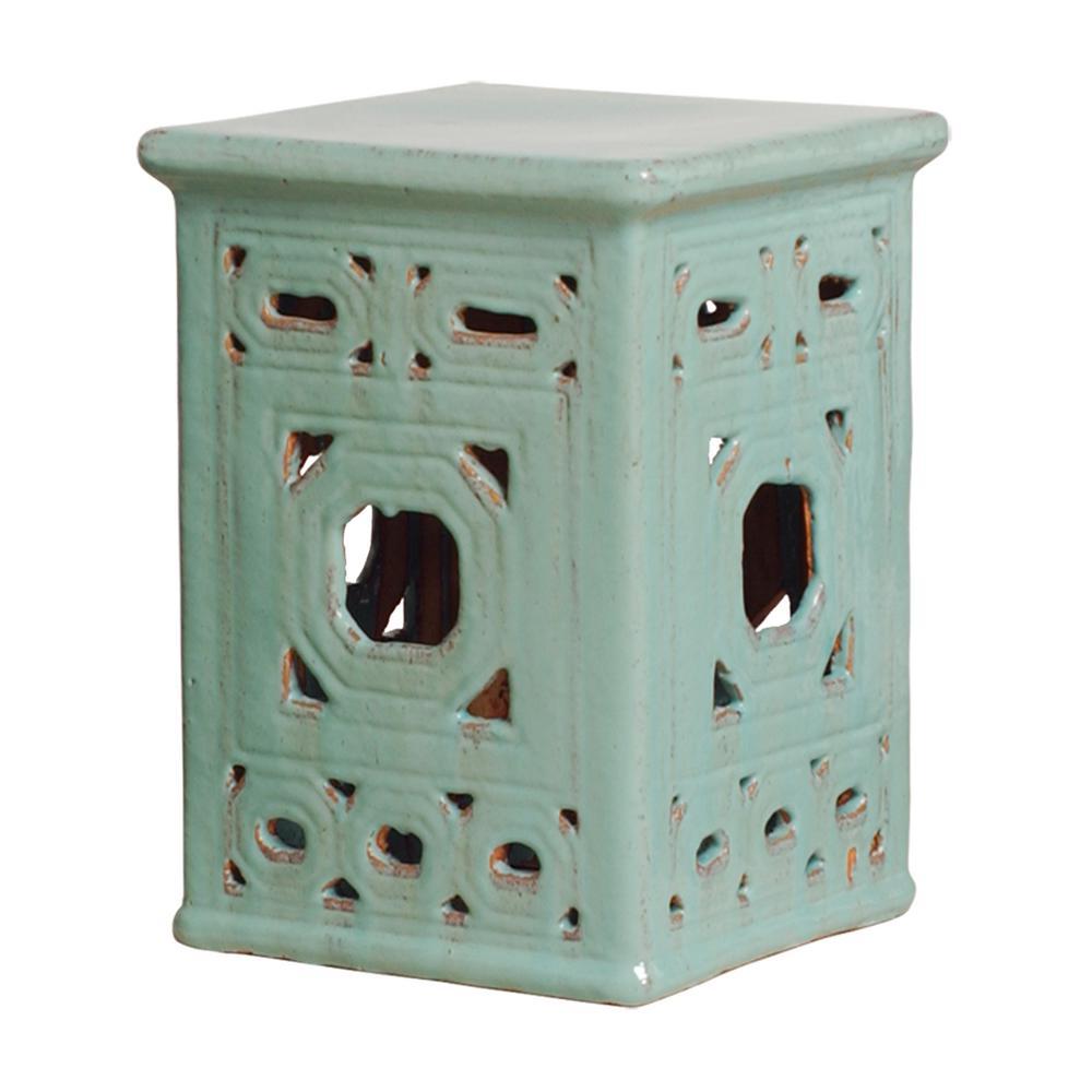 Lattice Square Turquoise Ceramic Garden Stool