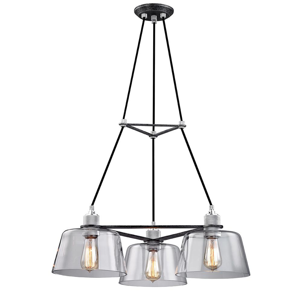 Troy Lighting Audiophile 3-Light Old Silver and Polished Aluminum Chandelier with Clear Glass Shade