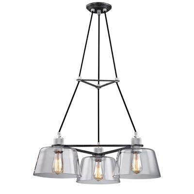 Audiophile 3-Light Old Silver and Polished Aluminum Chandelier with Clear Glass Shade