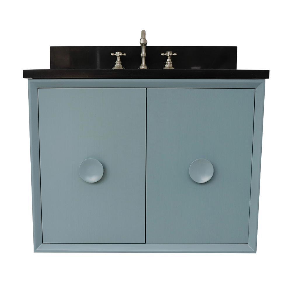Stora 31 in. W x 22 in. D Wall Mount Bath Vanity in Aqua Blue with Granite Vanity Top in Black with White Oval Basin