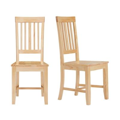 Scottsbury Unfinished Wood Chair with Slat Back (Set of 2) (16.7 in. W x 38.7 in. H)