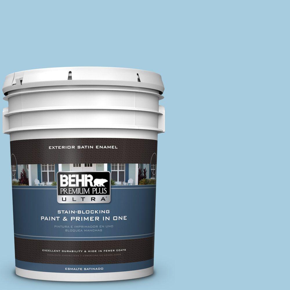BEHR Premium Plus Ultra 5-gal. #M490-2 Carefree Sky Satin Enamel Exterior Paint