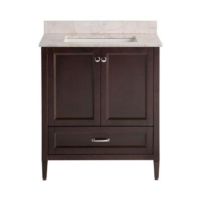 Claxby 31 in. W x 38 in. H x 22 in. D Bath Vanity in Chocolate with Stone Effects Vanity Top in Dune with White Sink