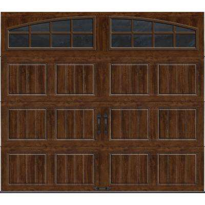 Gallery Collection 8 ft. x 7 ft. 18.4 R-Value Intellicore Insulated Ultra-Grain Walnut Garage Door with Arch Window