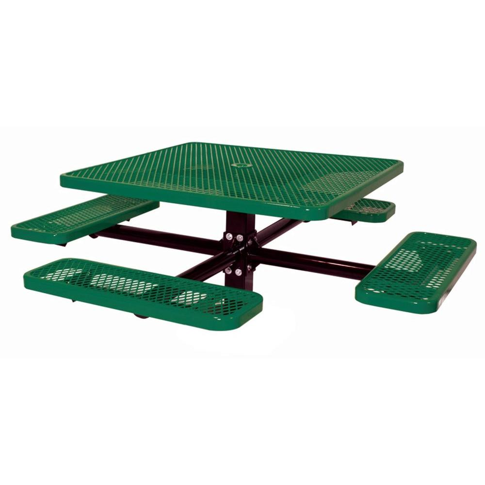 46 in. Diamond Green Commercial Park Square Table in Ground