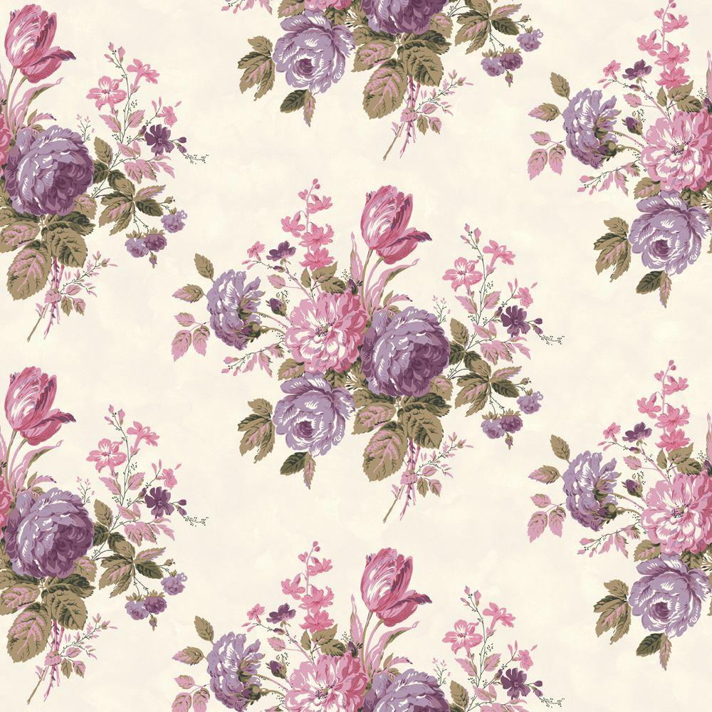 The Wallpaper Company 56 sq. ft. Purple and Pink Pastel Cottage Rose Wallpaper-DISCONTINUED