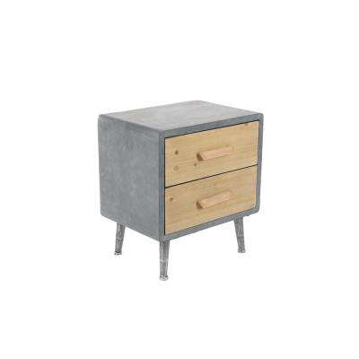 2-Drawer Gray Storage Chest with Light Brown Drawer Panels