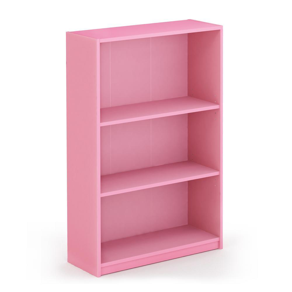 40.3 in. Light Pink Wood 4-shelf Standard Bookcase with Adjustable Shelves