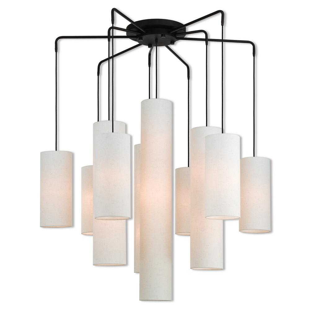 Livex Lighting Strathmore 15-Light Bronze Foyer Chandelier with Oatmeal Color Fabric Outside and White Fabric Inside Hardback Shade