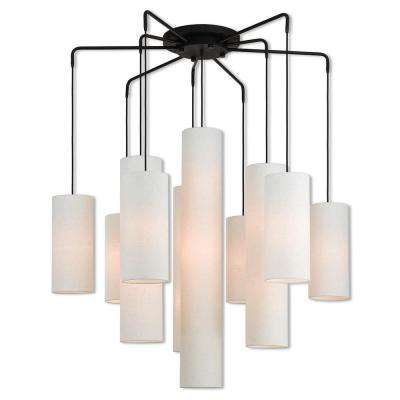 Strathmore 15-Light Bronze Foyer Chandelier with Oatmeal Color Fabric Outside and White Fabric Inside Hardback Shade