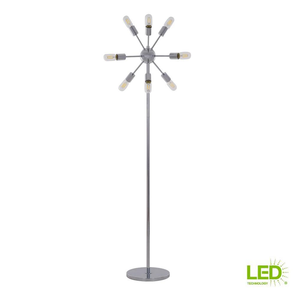 Home Decorators Collection 63.5 in. Chrome Sputnik 9-Light Floor Lamp with LED Filament Bulbs Included