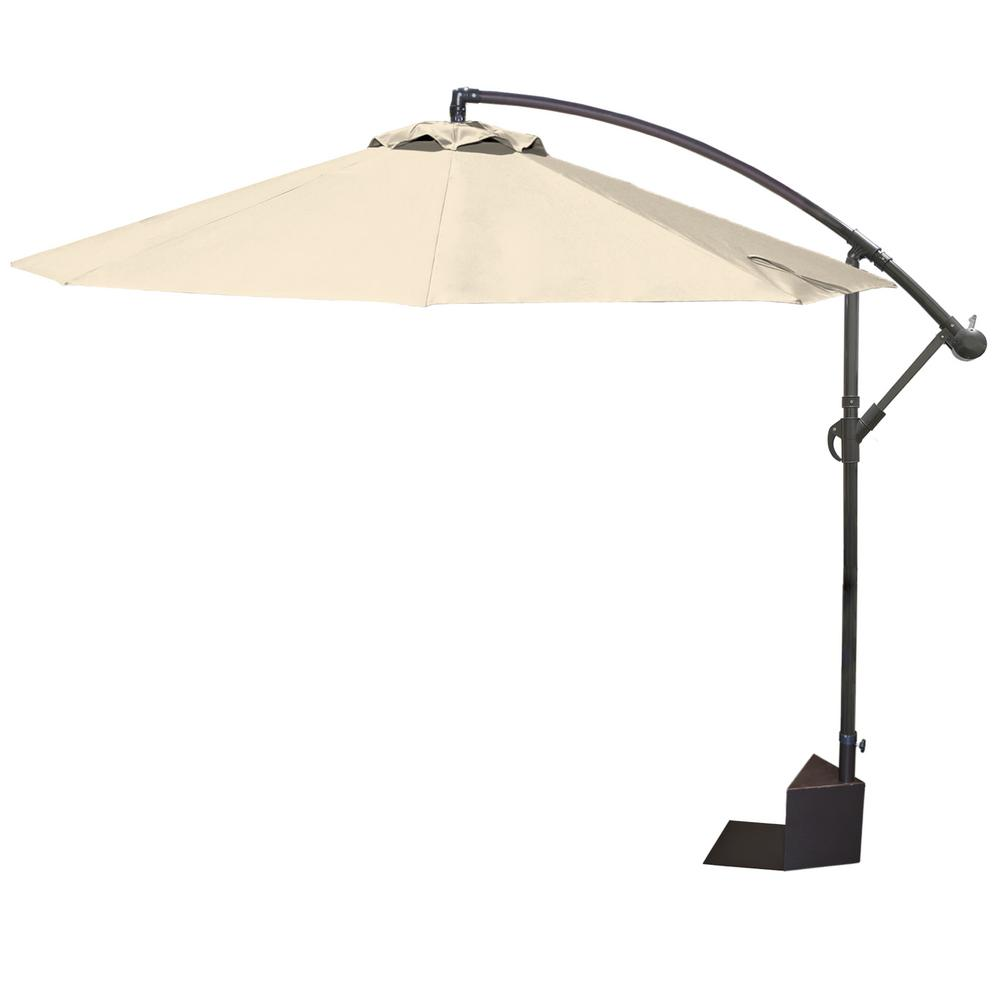 Island Umbrella Santiago 10 Ft. Aluminum Octagonal Cantilever Tilt Spa Side  Patio Umbrella In Champagne