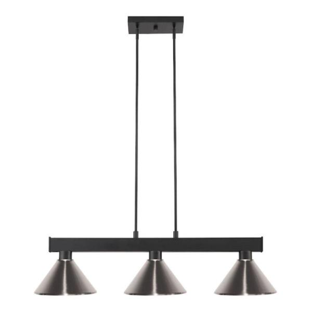 Filament Design 3 Light Matte Black Billiard Light With Brushed Nickel Steel Shade Hd Te53422 The Home Depot