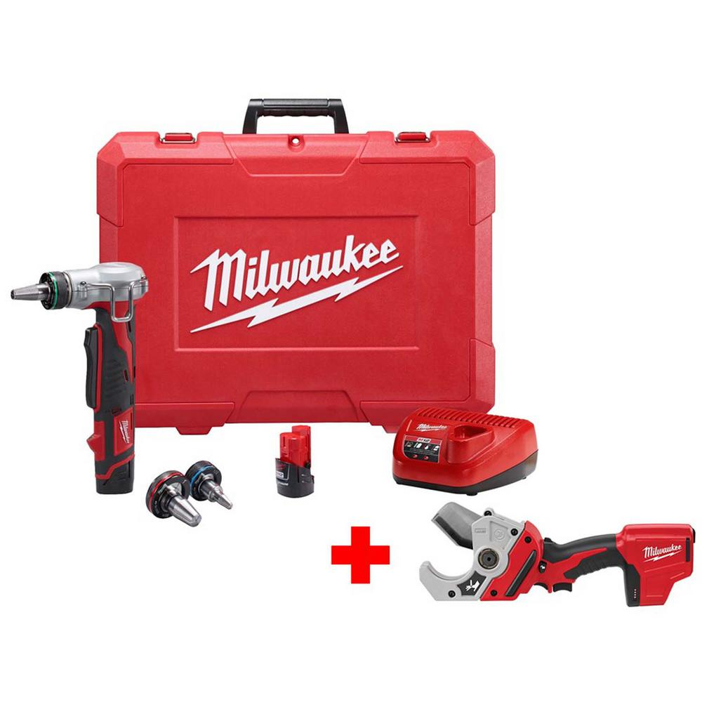 Milwaukee M12 12-Volt Lithium-Ion Cordless ProPEX Expansion Tool Kit with Free M12 PVC Pipe Shear