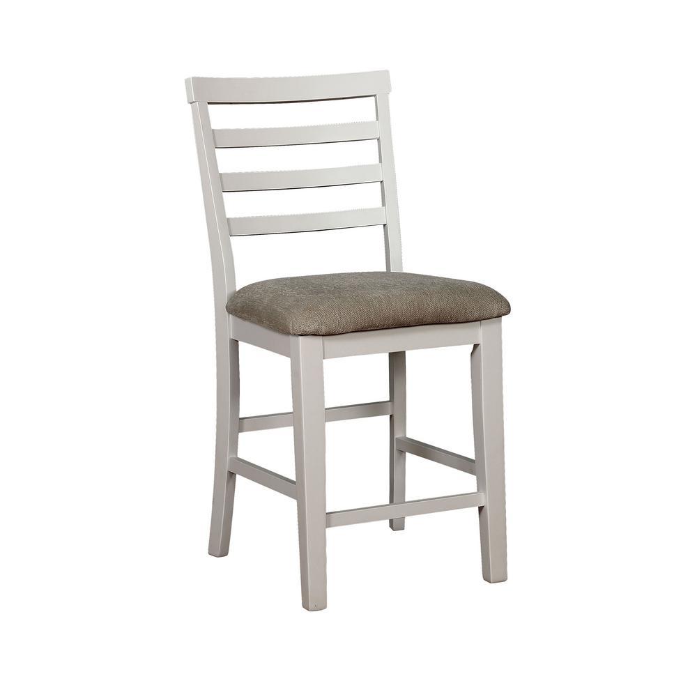 Martin White Weathered Oak Wood Ladder Pub Chair (Set of 2)