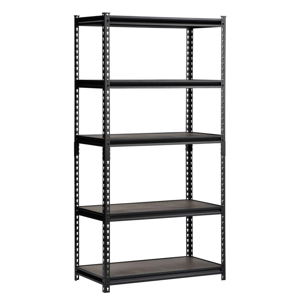72 in. H x 36 in. W x 18 in. D 5-Shelf Steel Commercial Shelving Unit in Black