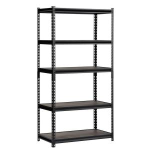 72 in. H x 36 in. W x 18 in. D Steel Commercial Shelving Unit in Black