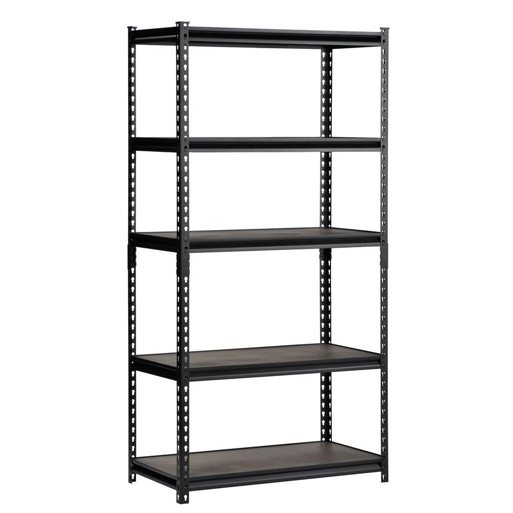 Muscle Rack 72 In H X 36 W 18 D 5 Shelf Steel Commercial Shelving Unit Black