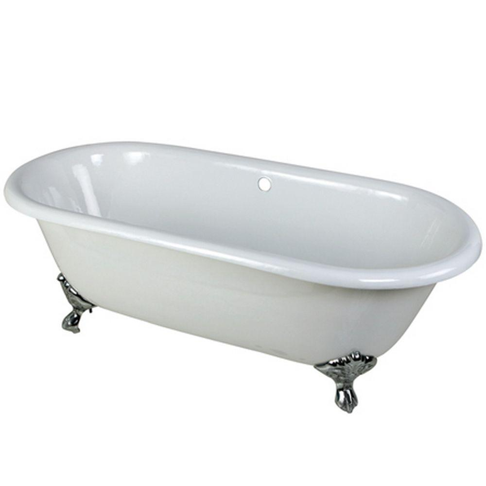 5.5 ft. Cast Iron Polished Chrome Claw Foot Double Ended Tub