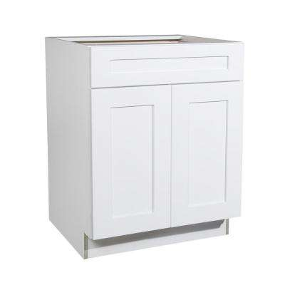 Ready to Assemble 27x34.5x23.7 in. Shaker 1 Drawer 2 Door Base Cabinet in White with Soft-Close