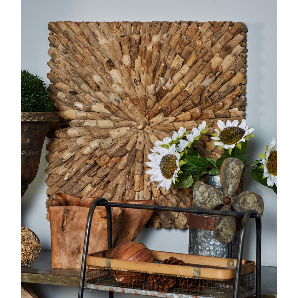 Litton Lane 39 in x 39 in Burst of Driftwood Nug s Square Wooden