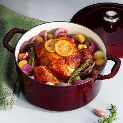 Gourmet Enameled Cast Iron 5.5 Qt. Covered Round Dutch Oven in Majolica Red