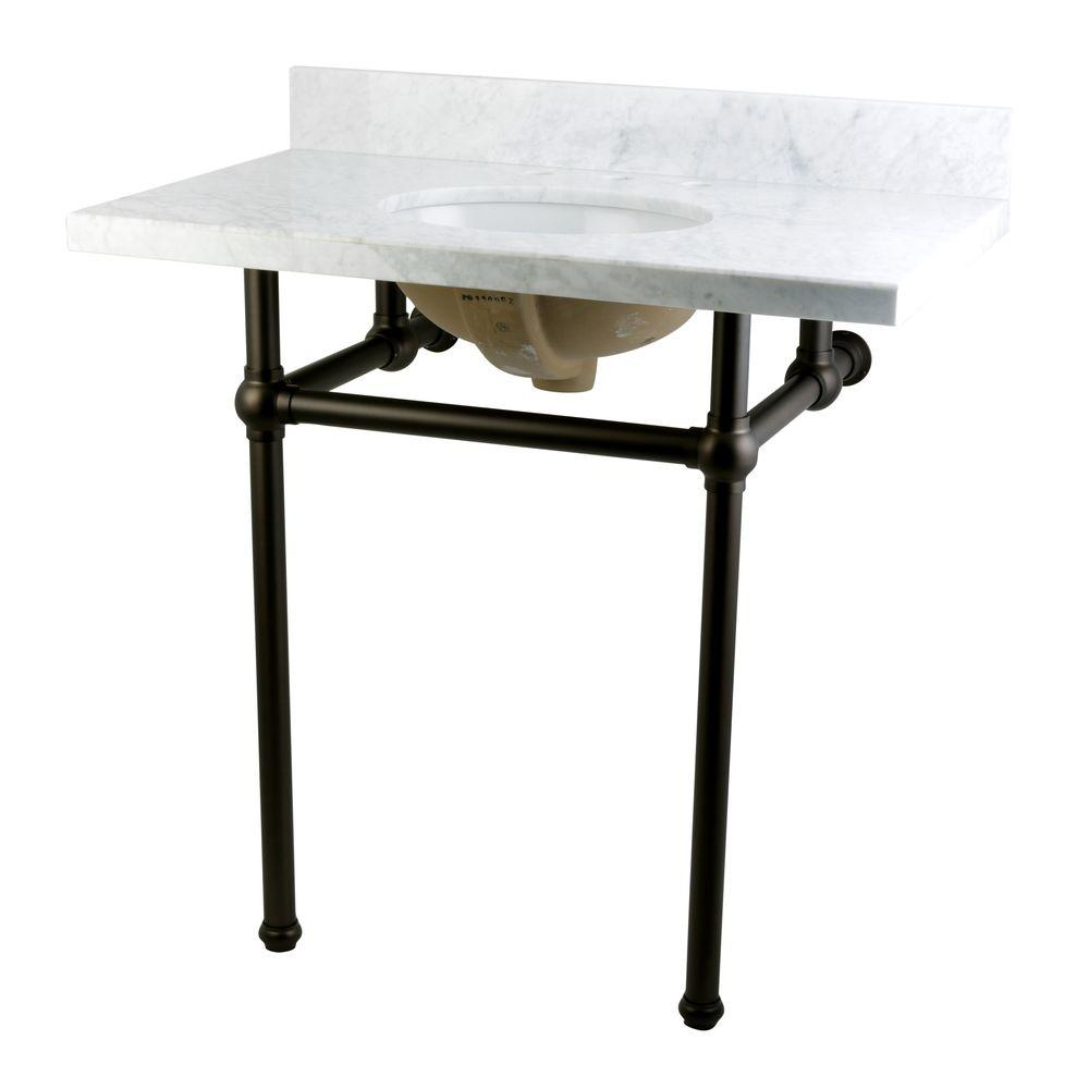 Kingston Brass Washstand 36 In. Console Table In Carrara White With Metal  Legs In Oil