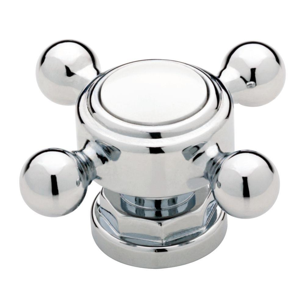 (51mm) Chrome And White Cabinet Knob