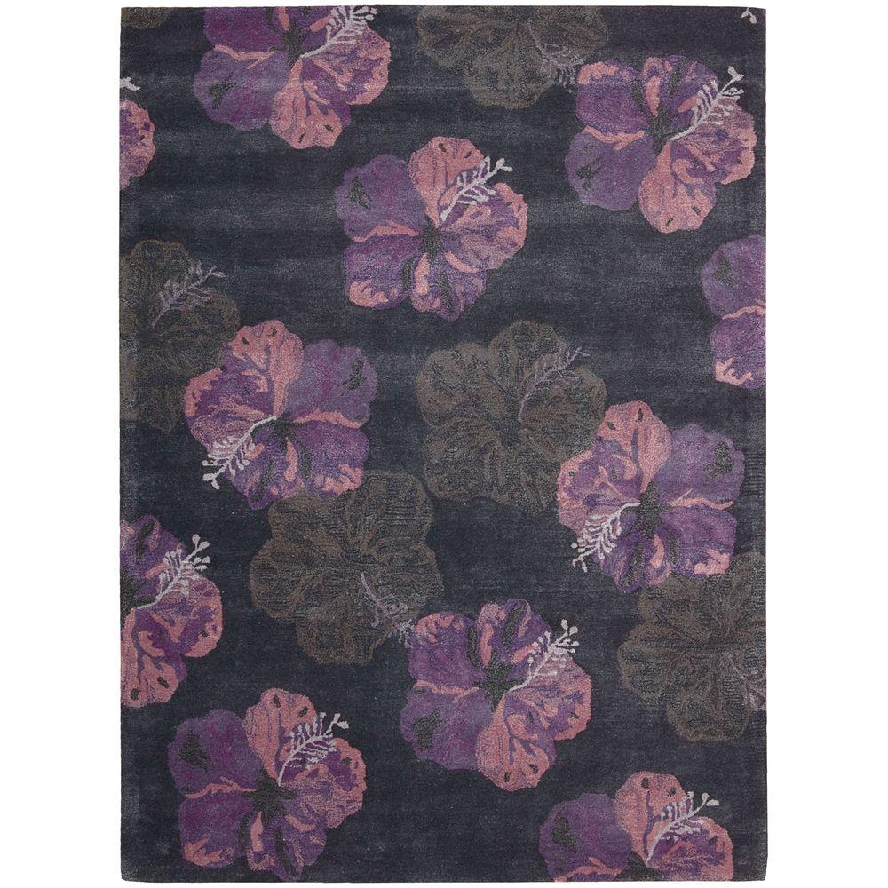 Nourison Overstock Lakeside Ink/Plum 5 ft. 6 in. x 7 ft. 5 in. Area Rug
