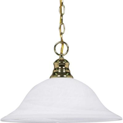 1-Light Polished Brass Dome Pendant