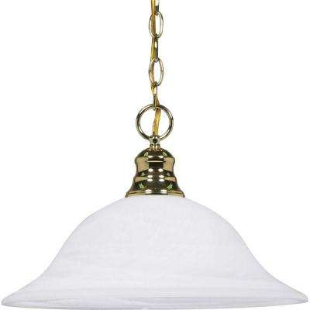1-Light Polished Brass Dome Pendant