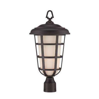 Triton 1-Light Aged Bronze Patina Outdoor Incandescent Post Lantern