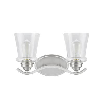 2-Light Satin Nickel Vanity Light with Clear Glass Shade