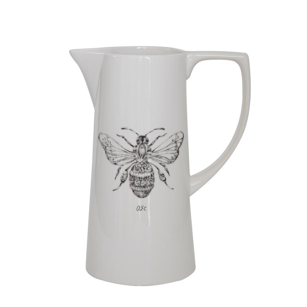 64 fl. oz. White Ceramic Pitcher with Bee Image