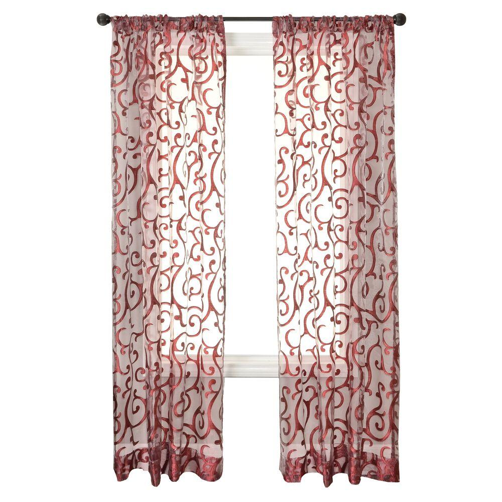 Home Decorators Collection Sheer Sangria Amalfi Rod Pocket Curtain - 54 in.W x 84 in. L