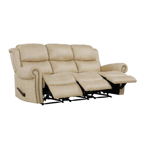 ProLounger Distressed Latte Tan Faux Leather 3-Seat Rolled Arm Wall Hugger