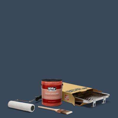 1 gal. #M500-7 Very Navy Ultra Extra Durable Flat Interior Paint and 5-Piece Wooster Set All-in-One Project Kit